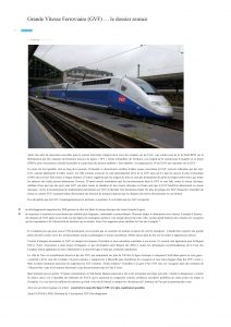 TV83: Grande Vitesse Ferroviaire (GVF) … le dossier avance