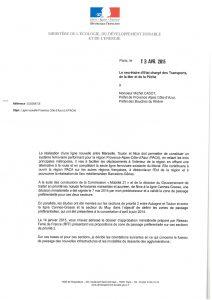 Lettre accord Ministre : Réalisation d'une ligne entre Marseille, Toulon et Nice