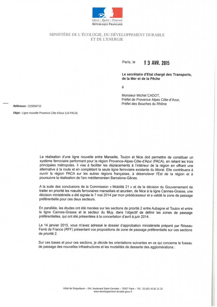 lettre accord ministre
